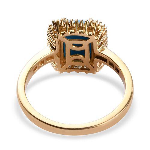 ILIANA 18K Yellow Gold Arizona Sleeping Beauty Turquoise and Diamond Ring 1.35 Ct.