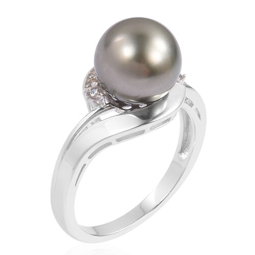 Tahitian Pearl (Rnd 10-11mm), Natural White Cambodian Zircon Ring in Rhodium Plated Sterling Silver