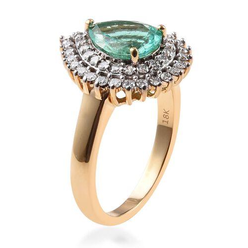 ILIANA 18K Yellow Gold AAA Boyaca Colombian Emerald and Diamond (SI/G-H) Ring 1.78 Ct, Gold wt 7.00 Gms