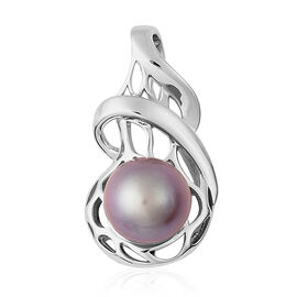Purple Edison Pearl Solitaire Pendant in Rhodium Plated Sterling Silver