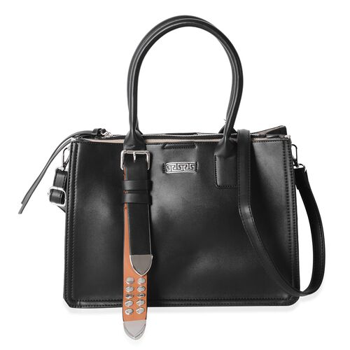 Limited Collection Black Colour Tote Bag with Removable Shoulder Strap (Size 33.5x23.5x17x14.5 Cm)