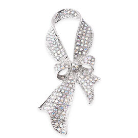 Simulated Mystic White Crystal Bowknot Brooch in Silver Tone