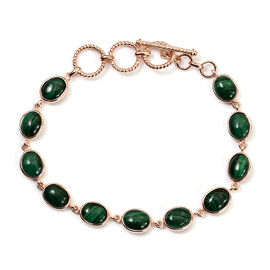 Malachite Bracelet (Size 7-7.5) in Rose Gold Tone 22.00 Ct.