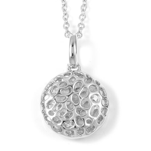 RACHEL GALLEY Rhodium Plated Sterling Silver Memento Disc Pendant With Chain (Size 30),