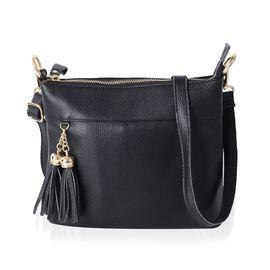 Super Soft 100% Genuine Leather Full Tassels Black Cross Body Bag with Adjustable and Removable Shoulder Strap (Size 23x20x7.5 Cm)