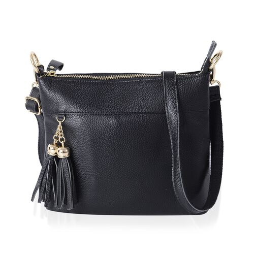 Super Soft 100% Genuine Leather Full Tassels Black Cross Body Bag with Adjustable and Removable Shou