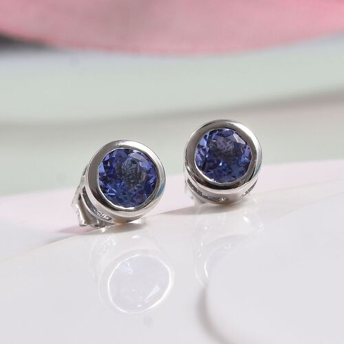 Tanzanite Stud Earrings (Rnd 5mm) )(with Push Back) in Platinum Overlay Sterling Silver 5mm  0.88 Ct.