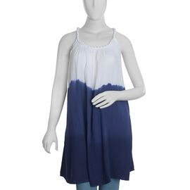 Plaited Strap Dress - Navy and White Colour