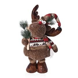 Christmas Decor - Long Leg Reindeer with Pine and Skis (Size 78-38 Cm) - Brown