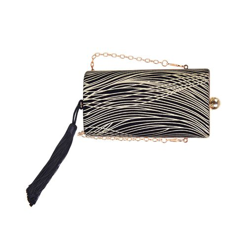 Black and Golden Colour Stripes Pattern Velvet Clutch Bag with Chain Strap in Gold Tone (Size 16X8.5X5.5 Cm)
