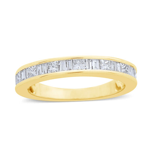 Limited Edition- ILIANA 18K Yellow Gold IGI Certified Diamond (Princess Cut) (SI/G-H) Half Eternity Ring 1.000 Ct.