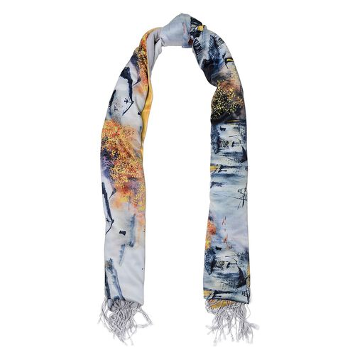 Designer Inspired Double Sided Digital House Printed Yellow, Grey and Multi Colour Scarf with Fringes (Size 165x50 Cm)