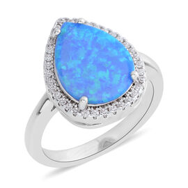 New Concept - Simulated Ocean Blue Opal (Pear), Simulated Diamond Ring in Silver Plated