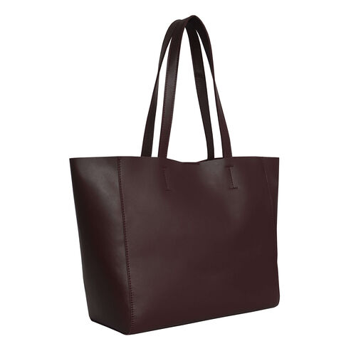 Assots London Abingdon Full Grain 100% Genuine Leather Tote Bag with Magnetic Closure (Size 32x12x28cm) - Burgundy