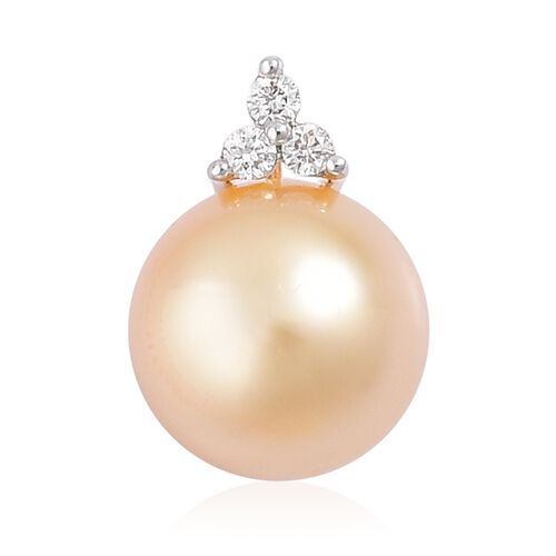 ILIANA 18K Yellow Gold AAA South Sea Golden Pearl (Rnd 9-10 mm) Pendant with Diamond (SI/G-H)