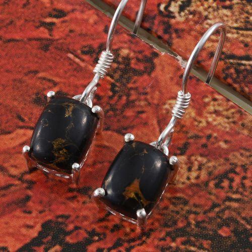 Arizona Mojave Black Turquoise (Cush) Hook Earrings in Sterling Silver 3.750 Ct.