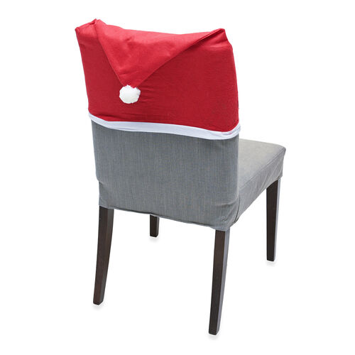 Set of 4 - Christmas Hat Chair Covers (Size 60x50cm)
