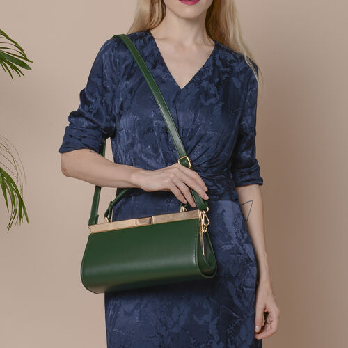 BOUTIQUE COLLECTION Dark Green Clutch Bag with Detachable Shoulder Strap and Top Handle (Size 26x13x16 Cm)