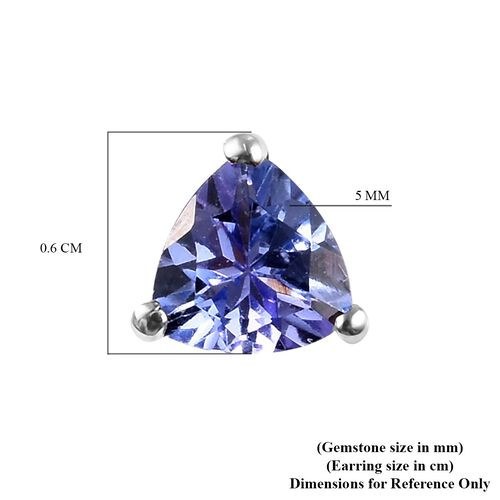 Tanzanite Stud Earrings (with Push Back) in Platinum Overlay Sterling Silver 1.00 Ct.