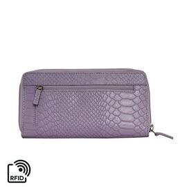 Assots London HAZEL Python Embossed Genuine Leather RFID Zip Around Purse (Size 20x2x10 Cm) - Lilac