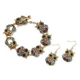 Set of 2 Multicolour Austrian Crystal Owl Bracelet with Hook Earrings in Gold Tone 79 Inch