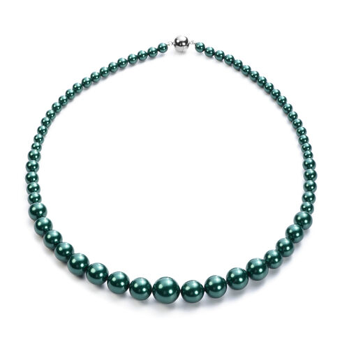 3 Piece Set - Russian Diopside Colour Shell Pearl Stretchable Bracelet (Size 7), Necklace (Size 20 with Magnetic Lock) and Earrings (with Push Back) in Stainless Steel