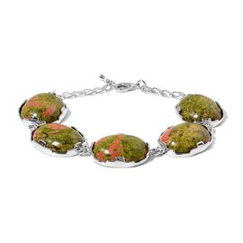 Unakite Station Bracelet 7.5 with 1.5 inch Extender