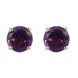 African Amethyst 2 Stone Push Post Earring in 14K Gold Overlay Sterling Silver 1.00 ct  1.000  Ct.