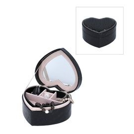 Two Layer Heart Shaped Croc Pattern Jewellery Box with Inside Mirror (Size 14x12.5x7 Cm) - Black