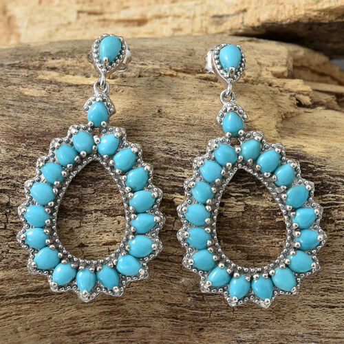 Arizona Sleeping Beauty Turquoise (Pear) Drop Earrings (with Push Back) in Platinum Overlay Sterling Silver 5.120 Ct, Silver wt 6.75 Gms