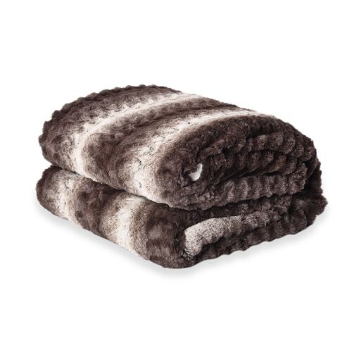 Deluxe Collection- High Quality Smoky Grey Faux Fur Sherpa Blanket (150x200 cm)