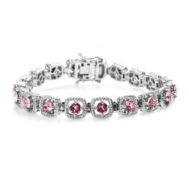 J Francis Light Rose Crystal from Swarovski Tennis Design Bracelet in Platinum Plated 7.5 Inch
