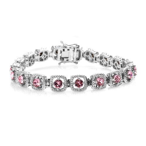 J Francis Light Rose Crystal from Swarovski Tennis Design Bracelet in Platinum Plated 7.5 Inch