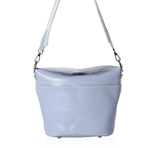 Super Reduction Deal 100% Genuine Leather Dusky Blue Colour Shoulder Bag with Removable Shoulder Str