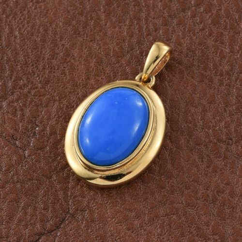 Ceruleite (Ovl) Solitaire Pendant in 14K Gold Overlay Sterling Silver 4.750 Ct.
