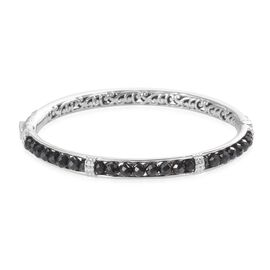 Boi Ploi Black Spinel Bangle (Size 7) in Platinum Plated 21.50 Ct.