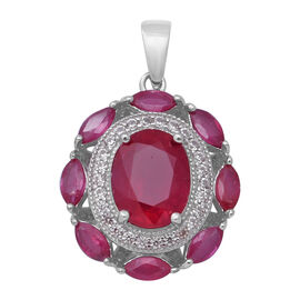 African Ruby (Ovl 10x8 mm), Natural White Cambodian Zircon Pendant in Rhodium Overlay Sterling Silve