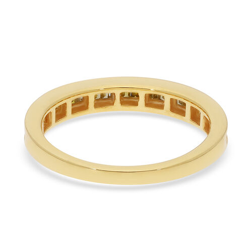 Yellow Diamond Half Eternity Band Ring in Yellow Gold Overlay Sterling Silver 0.25 Ct.