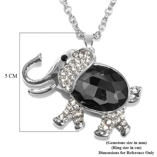 Simulated Grey Spinel, Black and White Austrian Crystal Elephant Pendant with Chain (Size 29 with 2.5 inch Extender) in Silver Tone