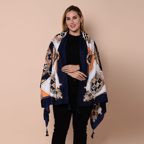 Close Out Fashion Scarf  / Sarong  in Fleur-de-lis Pattern (Size 180x90cm) with Tassels - Navy, Whit