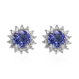 9K White Gold AA Tanzanite (Rnd), Diamond Stud Earrings (with Push Back) 1.25 Ct