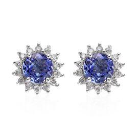 1.25 Ct AA Tanzanite and Diamond Halo Stud Earrings in 9K White Gold