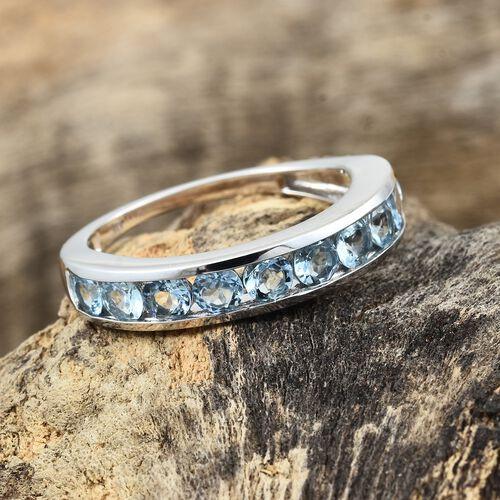 9K White Gold AA Santa Maria Aquamarine (Rnd) Half Eternity Band Ring 1.500 Ct.