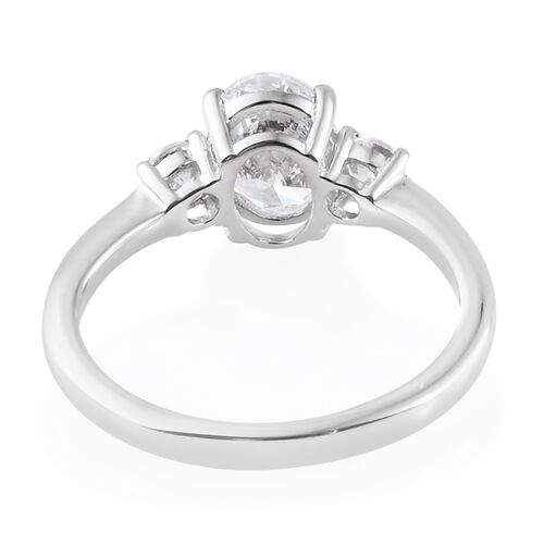 J Francis - Platinum Overlay Sterling Silver (Ovl) Three Stone Ring Made with SWAROVSKI ZIRCONIA