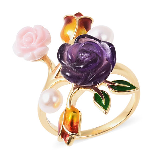 Jardin Collection - Amethyst (6.50 Ct), Freshwater Pearl and Pink Mother of Pearl Enamelled Floral R