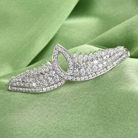 J Francis Platinum Overlay Sterling Silver Bracelet (Size 7.5) Made with SWAROVSKI ZIRCONIA 10.76 Ct, Silver wt 17.84 Gms