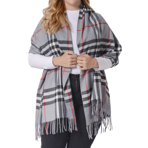 One Time Deal- Designer Inspired Check Pattern Scarf (Size 180x65cm) - Light Grey
