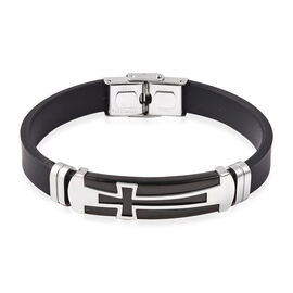 Mens Bracelet in Black Plated Cross in Stainless Steel Black 8 Inch