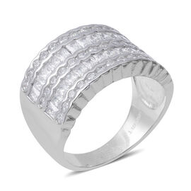 ELANZA Simulated Diamond (Bgt) Ring in Rhodium Overlay Sterling Silver, Silver wt 5.70 Gms.