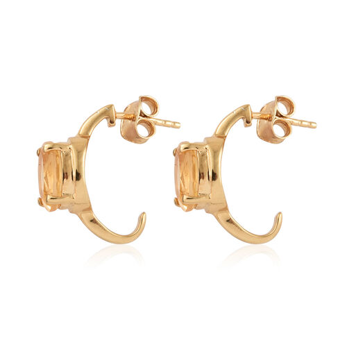 Citrine (Ovl) Earrings (with Push Back) in 14K Yellow Gold Overlay Sterling Silver 3.25 Ct.